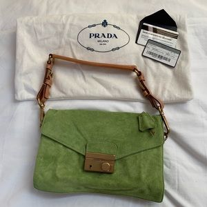 Prada green suede bag, authentic. Never used, NWOT